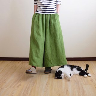 Daily hand-made suit green apple pleated wide pants skirt linen