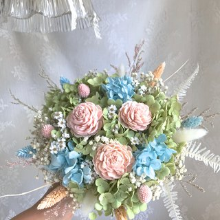 Masako Pink Blue Green Dream Green Hydrangea Bridal Bouquet Limited