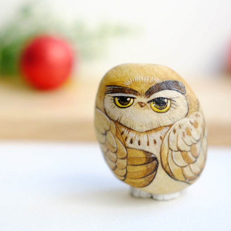 Owl stone painting.
