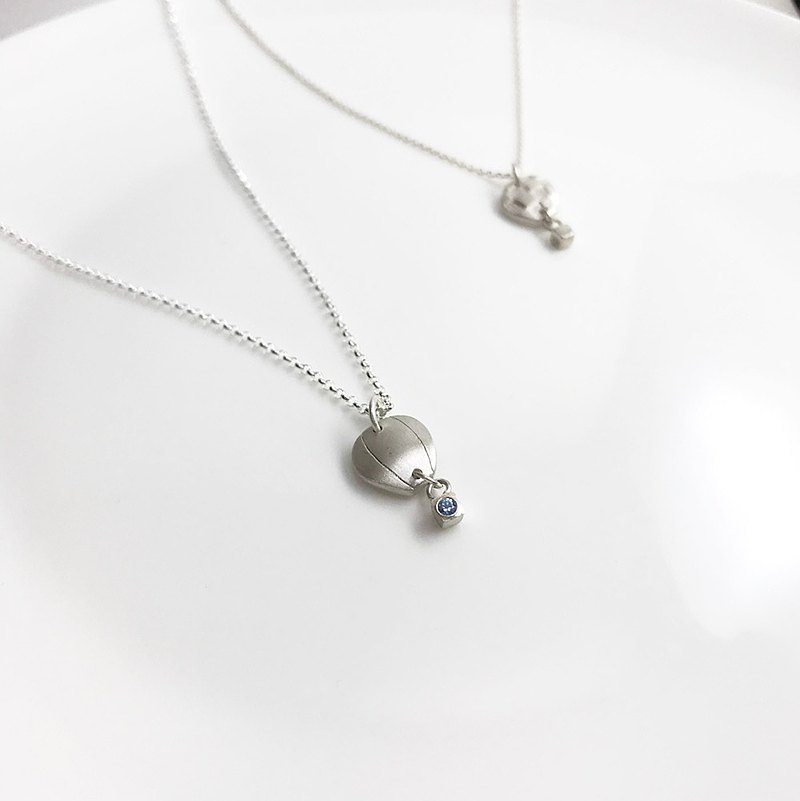 熱汽球 - 純銀項鍊 鋯石 生日 禮物 紀念日 手工訂做 情侶