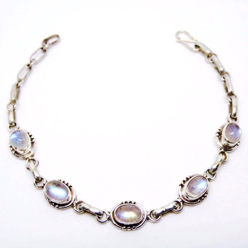Moonstone 925 silver handmade simple design bracelet