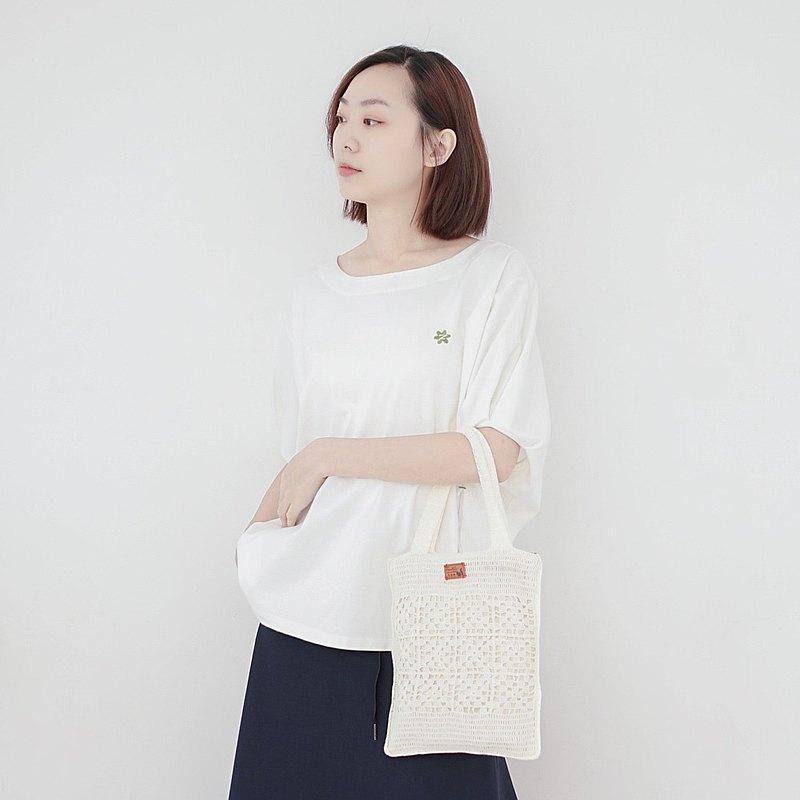 手工針織提袋-米白色│A5編織手提袋/七夕情人節