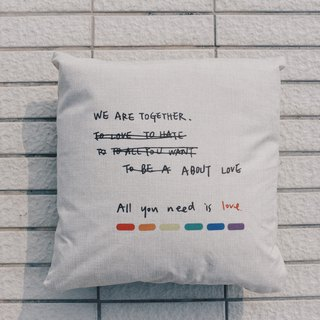We are together love equal rights - linen back pillow design