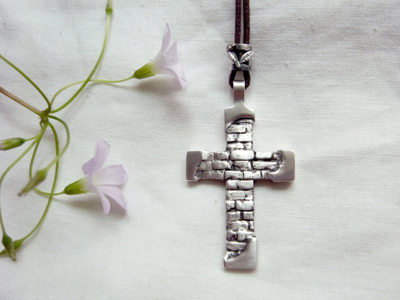 Brick Wall Cross--Sterling Silver--Silver Cross--Pendant Necklace with Wax Rope