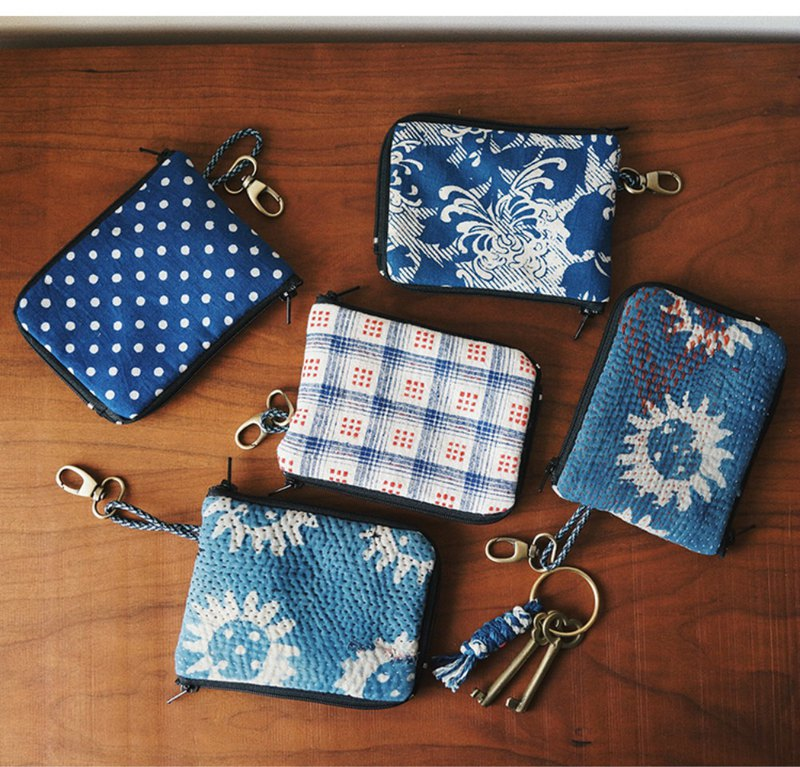 Multi-color boro embroidered thorn embroidered printed earthen cloth jacquard old cloth double zipper storage coin case