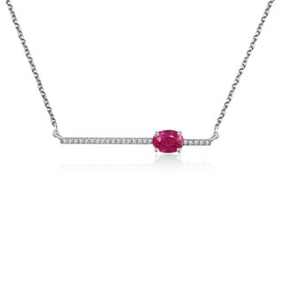 Line Diamond Necklace with Ruby