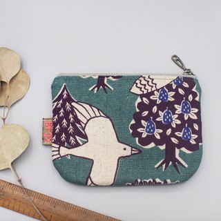 Stock - Ping An Xiaole Wallet - Dream Bird (Lake Blue Green), feel the linen