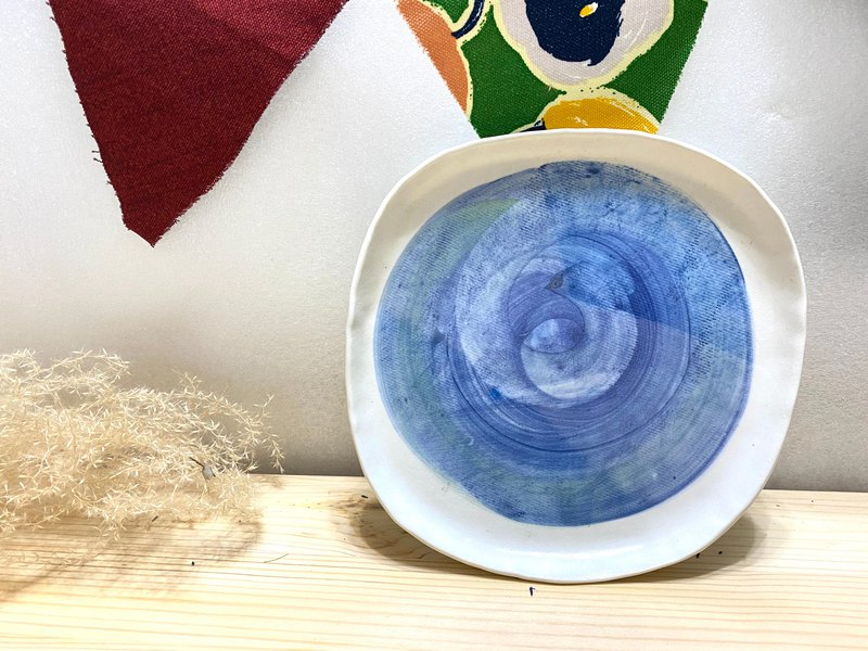 Hand drawn circles-pottery plate-blue