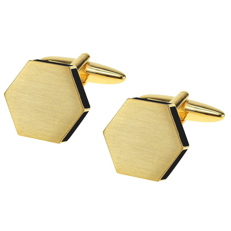 Brush Gold Black Enamel Hexagon Cufflinks