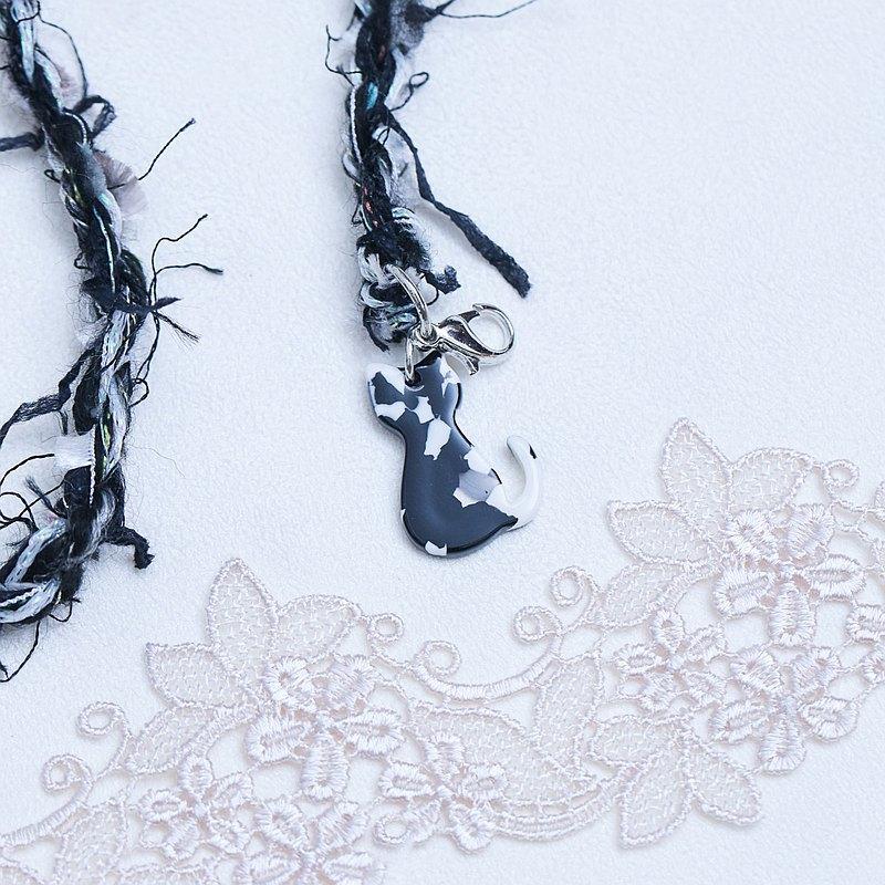 口罩掛鏈 神秘貓咪 黑色系 日本混合紗線  口罩繩 口罩掛繩