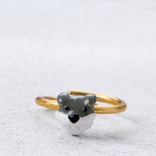 Schnauzer Dog Ring in Brass - Free Size
