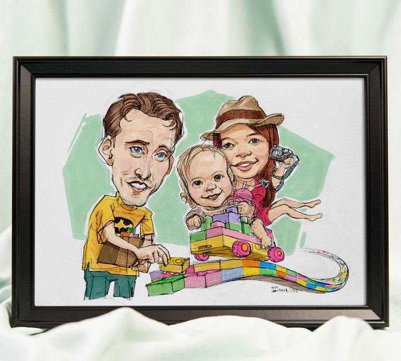 Three-person family theme portrait