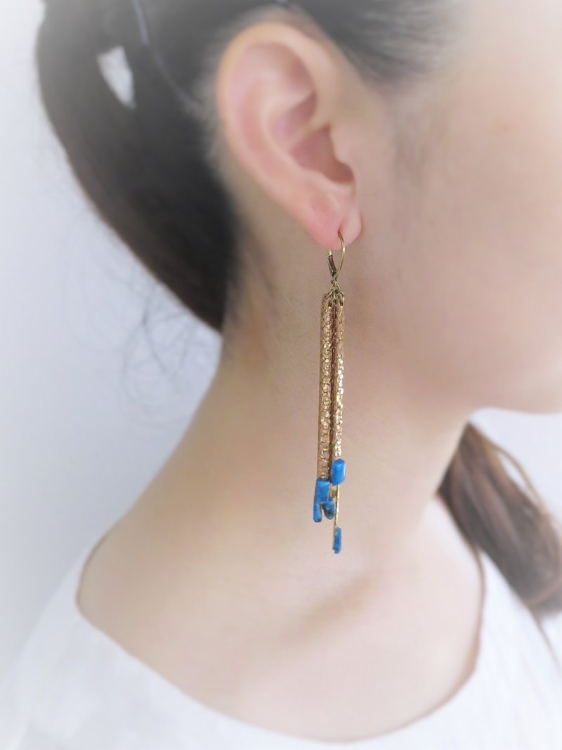 vintage pierced earrings fringe <PE-Fgold>
