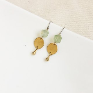Fresh moment brass natural stone earrings