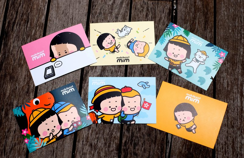 Mobile Girl Mim Postcard set (6 pieces)