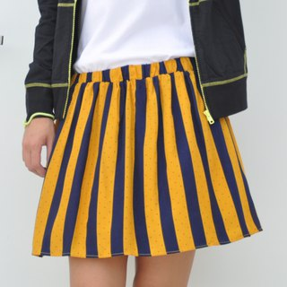 College wind wide stripe elastic waist skirt straight striped high waist round skirt - yellow and blue stripes