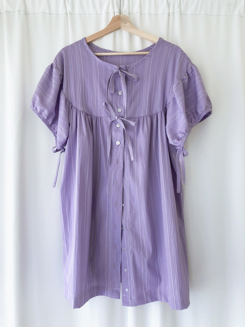 Purple bow-sleeve blouse