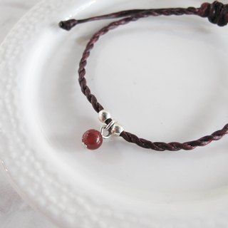 Big staff Taipa [manual silver] red agate × natural paraffin rope bracelet red red