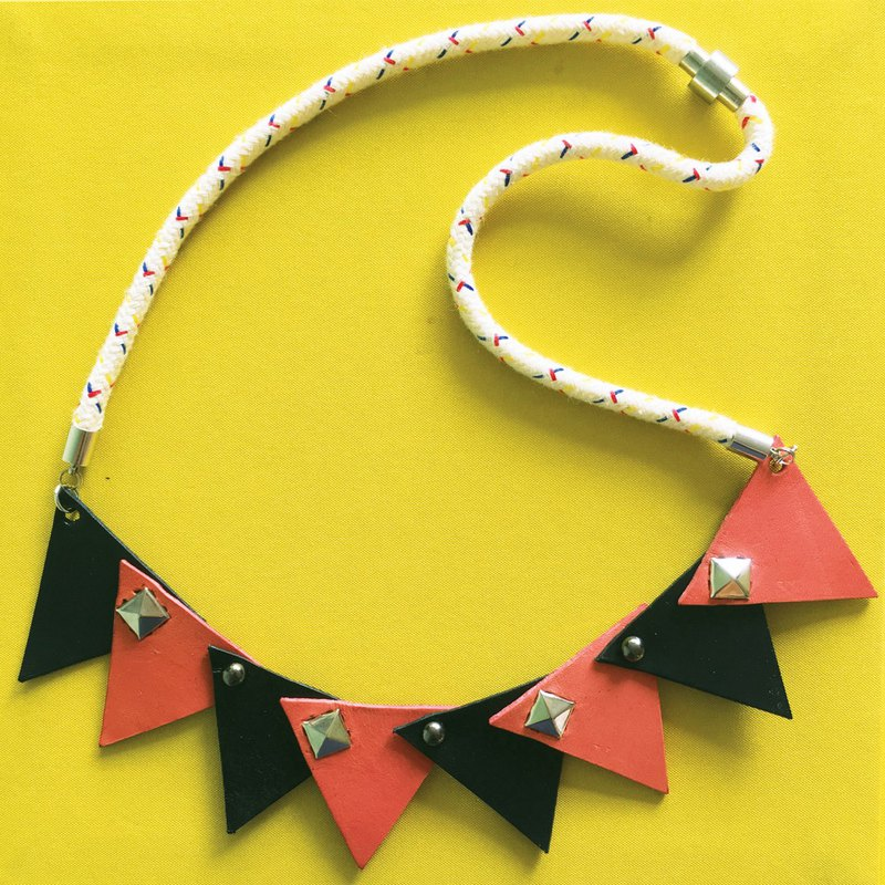 Geometry Colour Block Leather Necklace