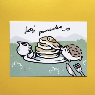Hedgehog picnic eat berry postcards
