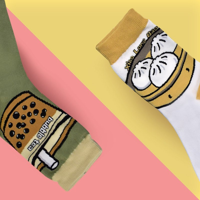 Pack Of 2=Taiwan Bubble Tea SOCKS+Taiwan Dumplings SOCKS