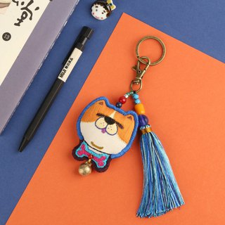 Dog rich hand-embroidered cartoon key ring with tassels sprouting planet cooperation version of high-end original dog year gift hand-made key chain small fresh meat flow to send children to send girlfriends birthday gift