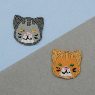 Grey&Orange Tabby Cat Set Iron Patch (set of 2)