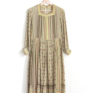 Vintage Romantic Flower Silk Vintage Long Sleeve Dress