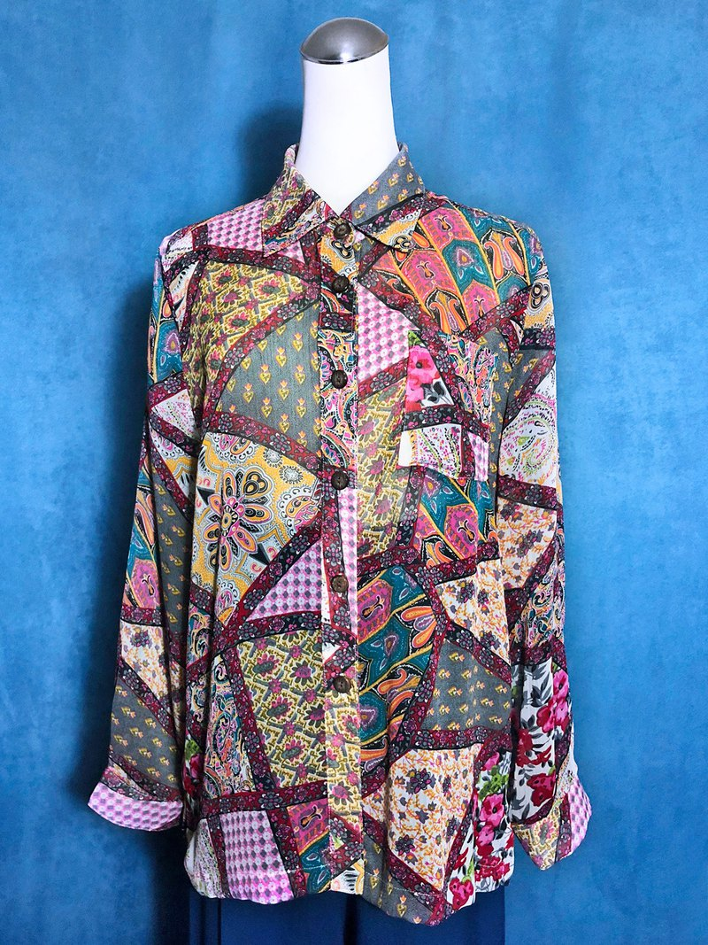 Stitched printed long-sleeved vintage shirt / brought back to VINTAGE abroad