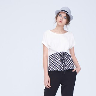 AEVEA fake two-piece plaid waistband T-shirt