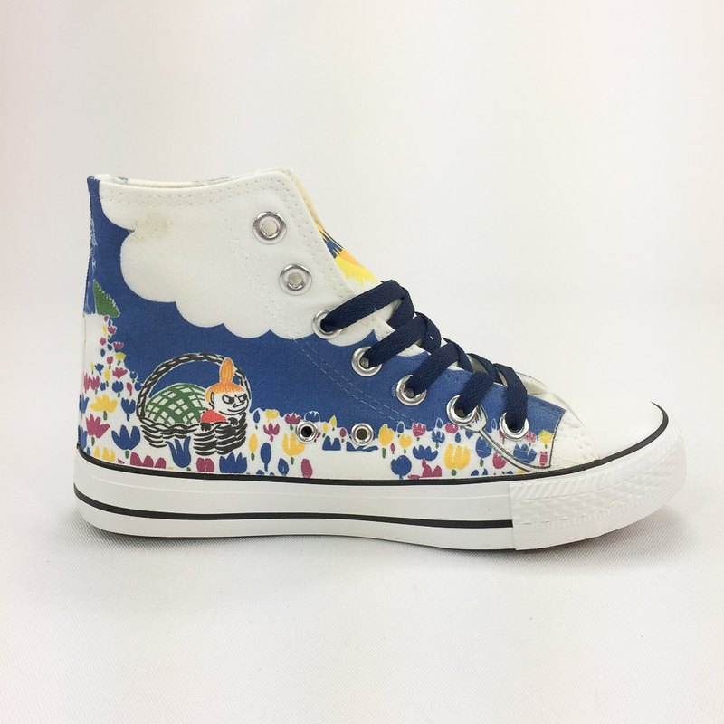 Moomin 噜噜 Mi authorized-canvas shoes (white shoes dark blue belt)-AE05