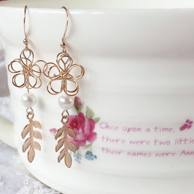 FOX Garden BELIEVE Cutout Flowers & Leaves & Shells Imitation Pearl Earrings
