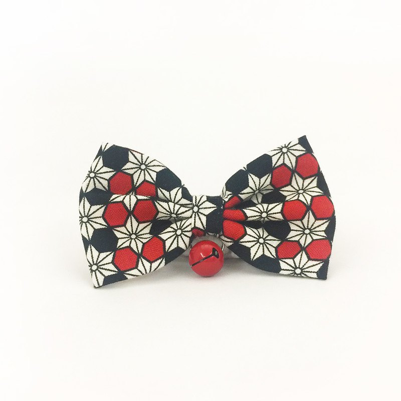 Japanese-style hemp leaf bow pet decorative collar cat small dog mini dog