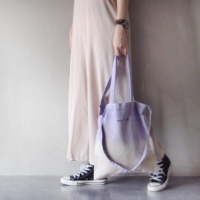 Spring dyed lilac purple x light apricot cotton canvas hand dyed tote bag double back