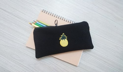 Embroidery Pencil Stationery Denim Pencil Bag Tool Bag Pouch Fruit Pineapple