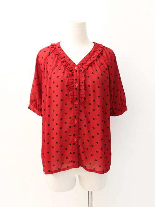 Vintage Japanese Sweet and Lovely Red Dotted Short Sleeve Vintage Shirt Vintage Blouse