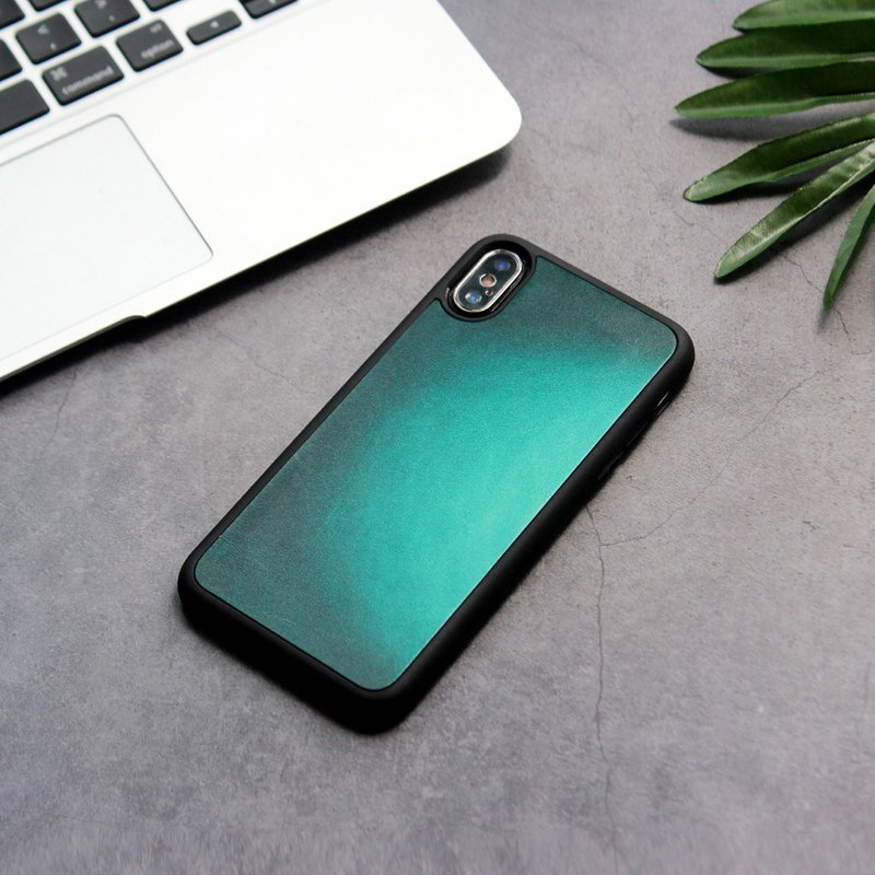 Ink green smudge iphone11pro x/xs max xr 7 8 plus leather phone case customization