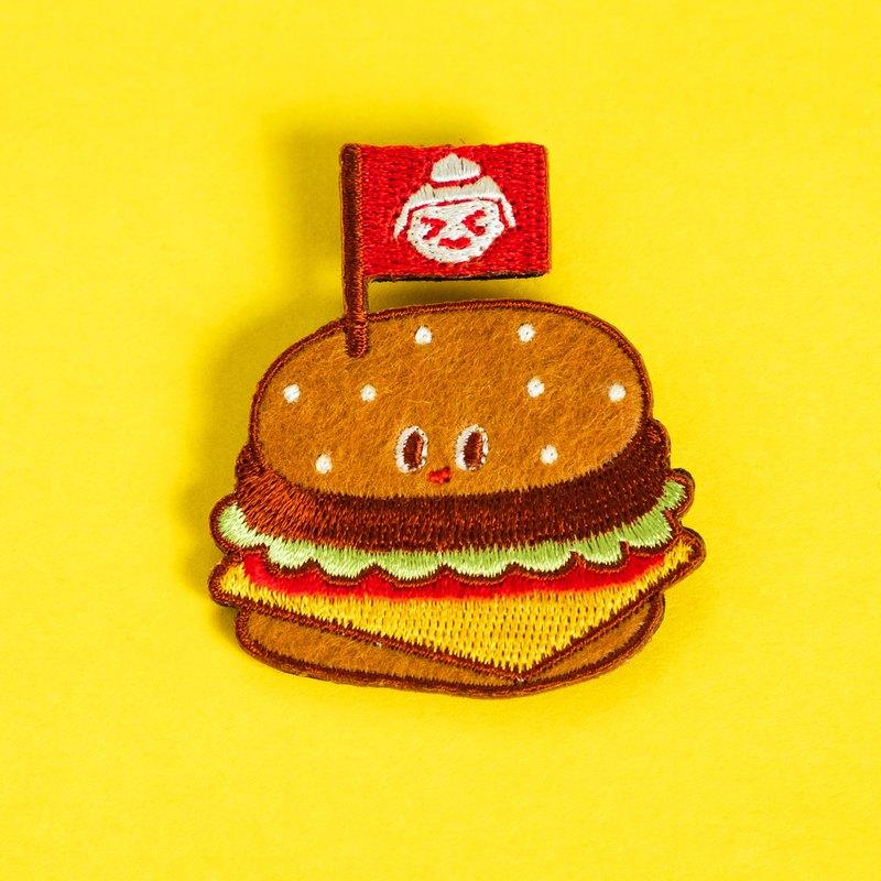 Embroidered brooch / Hamburger