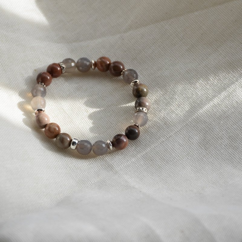 ZHU. Handmade bracelet | stable and enthusiastic (sterling silver / grey agate / natural stone / Christmas / exchange gifts)