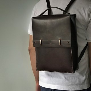 Tanela leather brown color back pack with handle
