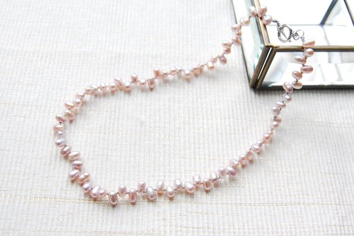 Cleopatra type purple pink pearl necklace
