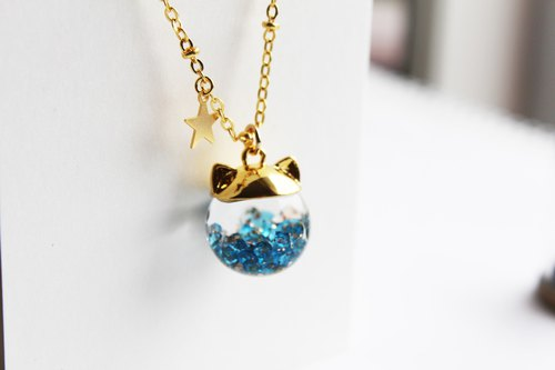 Rosy Garden cat shape with blue crystals water inside glass ball necklace