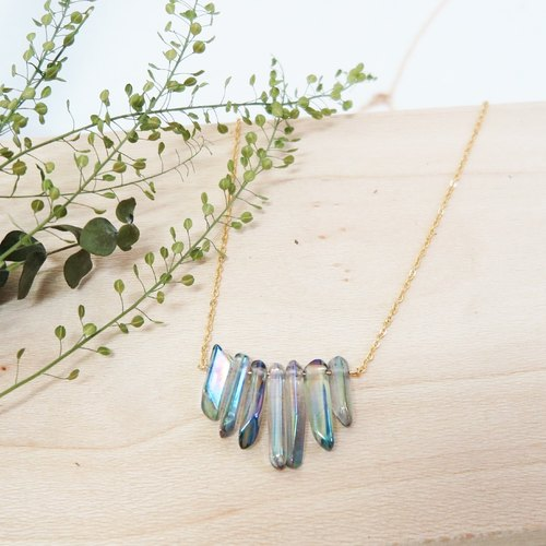 Summer Iridescent Blue Columnar Quartz Necklace