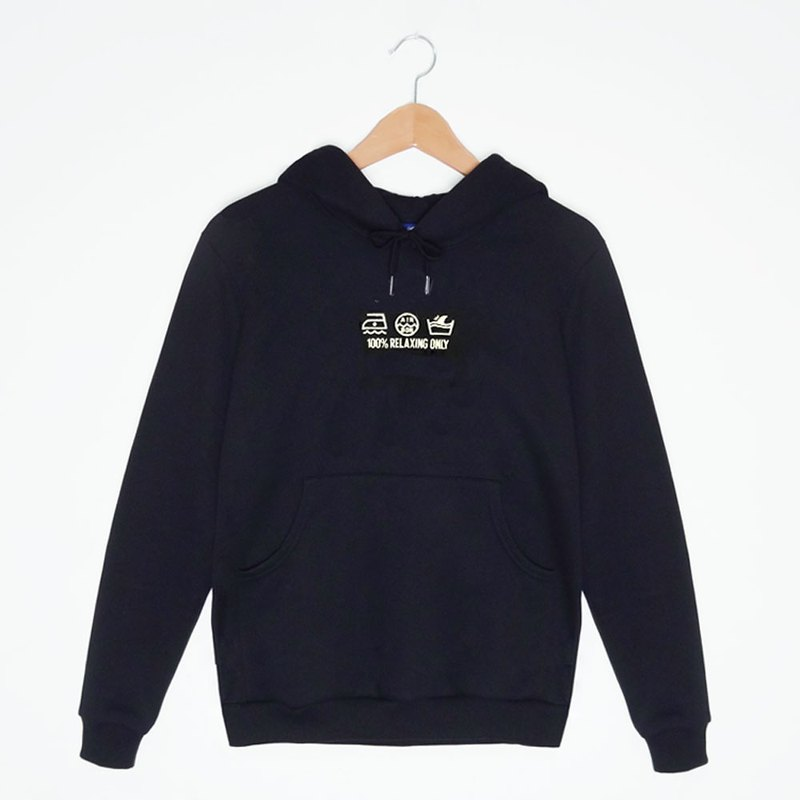 CARE LABEL Embroidery Hoodies-Black