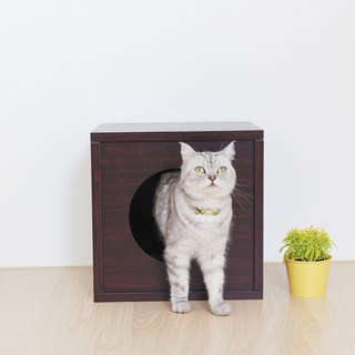 [Ange home] clever cat house | peekaboo cat cabinet - fat version (walnut)