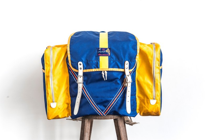 Vintage Camping Backpack Retro Blue & Yellow