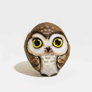 Owls stone painting original art.