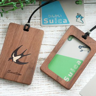 Wooden pass case with window 【Swallow】 Walnut