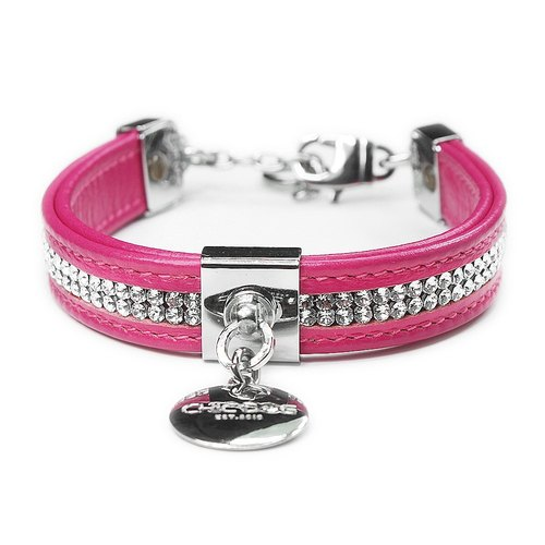 [CHIC DOG] Dual-purpose Collar Double Full-Diamond Leather Collar Leather Collar Collar ((Send Lettering))