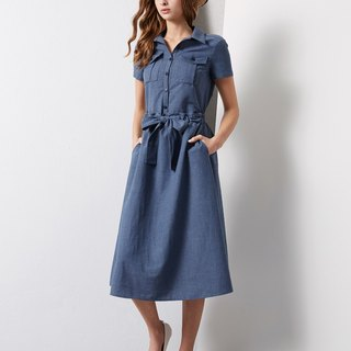 牛仔點點緹花長洋裝 Denim Dress in Dot Jacquard